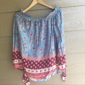 Beach lunch lounge printed off the shoulder blouse